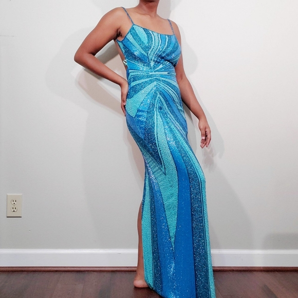 Cache Dresses & Skirts - Turquoise blue beaded backless evening gown